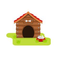 Dog House Cartoon Flat Style. ...