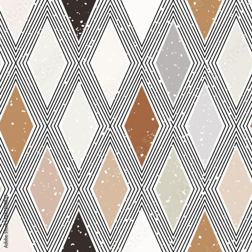Türaufkleber Künstlich Diamond rhombus tiles seamless pattern, pastel colors vector geometric background. Abstract lines and elements.