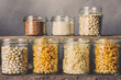 Leinwanddruck Bild - Zero waste. Eco friendly ware for storing groceries, cereals. The concept of sustainable lifestyle