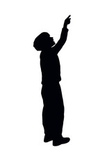 Boy Pointing Somewhere, Silhouette Vector