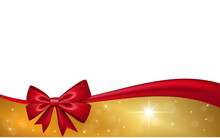 Gold Gift Card With Red Ribbon...