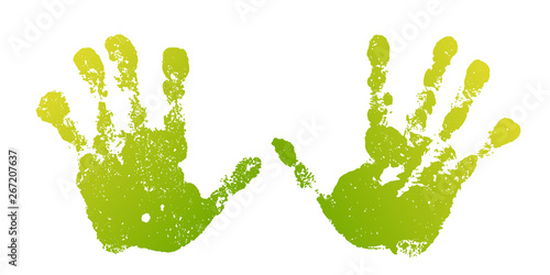 Fototapety, obrazy: Hand paint print set, isolated white background. Green human palm and fingers. Abstract art design, symbol identity people. Silhouette child, kid, people handprint. Grunge texture. Vector illustration