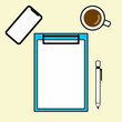 Top view of white paper on blue clipboard and pen and mobile and cup of coffee on yellow background