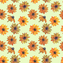 Seamless Watercolor Flowers Pattern. Hand Painted Yellow Flowers. Flower Pattern For Design. Seamless Floral Pattern. Drawn Flowers For Packaging, Wallpaper, Fabric.