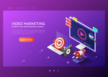 Isometric Web Banner Online Video Content Marketing Advertising