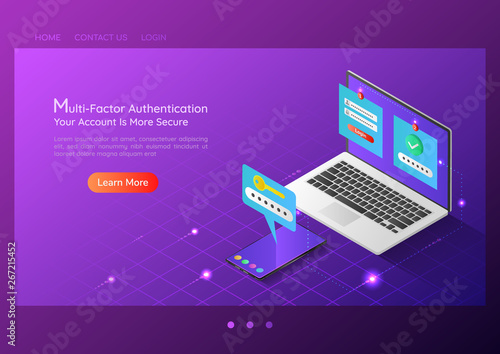 Photo Isometric web banner two steps verification system on laptop and smartphone