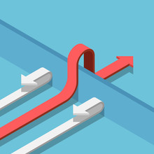Isometric Red Arrow Find A Way To Cross The Wall To Success