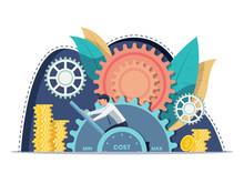 Businessman Setting Cost Lever On Minimum Position