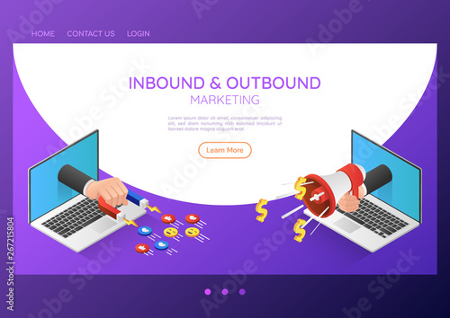 Photo  Isometric web banner businessman hand out from laptop with magnet and megaphone