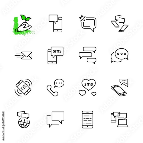 Fotografering  Set of Message Vector Line Icons