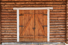 Wild West - Log Cabin Wall With A Doorway Locked Gate
