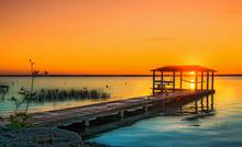 Sunrise Over Lake Bacalar Mexico, With Dog Sitting On The Dock