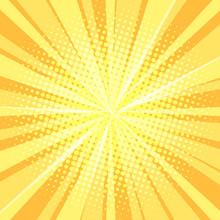 Yellow Pop Art Background Rays