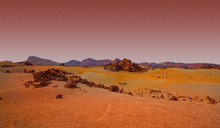 A Red And Orange Landscape From Mars.