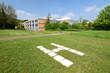 Hubschrauberlandeplatz vor dem ehemaligen Krankenhaus in Stadthagen