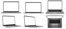 Set Of Blank Laptop Isolated
