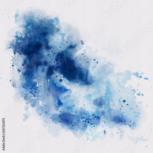 Hand painted blue watercolor background. Watercolor wash.  - 267225675