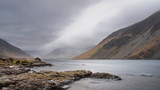 Stunning long exposure landscape image of Wast Water in UK Lake District during moody Spring evening - 267228875