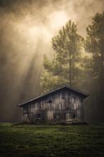 Alte Hütte Im Wald Mit Sonnen...