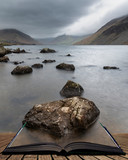 Stunning long exposure landscape image of Wast Water in UK Lake District coming out of pages in story book - 267229418