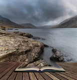 Stunning long exposure landscape image of Wast Water in UK Lake District coming out of pages in story book - 267229626