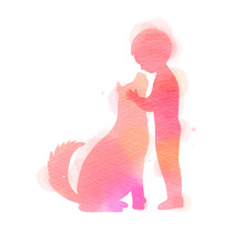 Boy Playing With Dog  Silhouette On Watercolor Background. The Concept Of Trust, Friendship And Pet Care. Digital Art Painting. Vector Illustration.