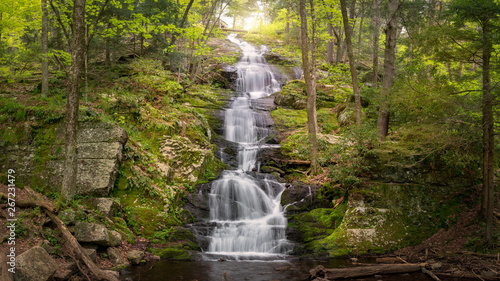 Panoramic view of Buttermilk Falls showing abundant spring runoff in Stokes State Forest, NJ