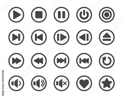 media player button icon set Slika na platnu