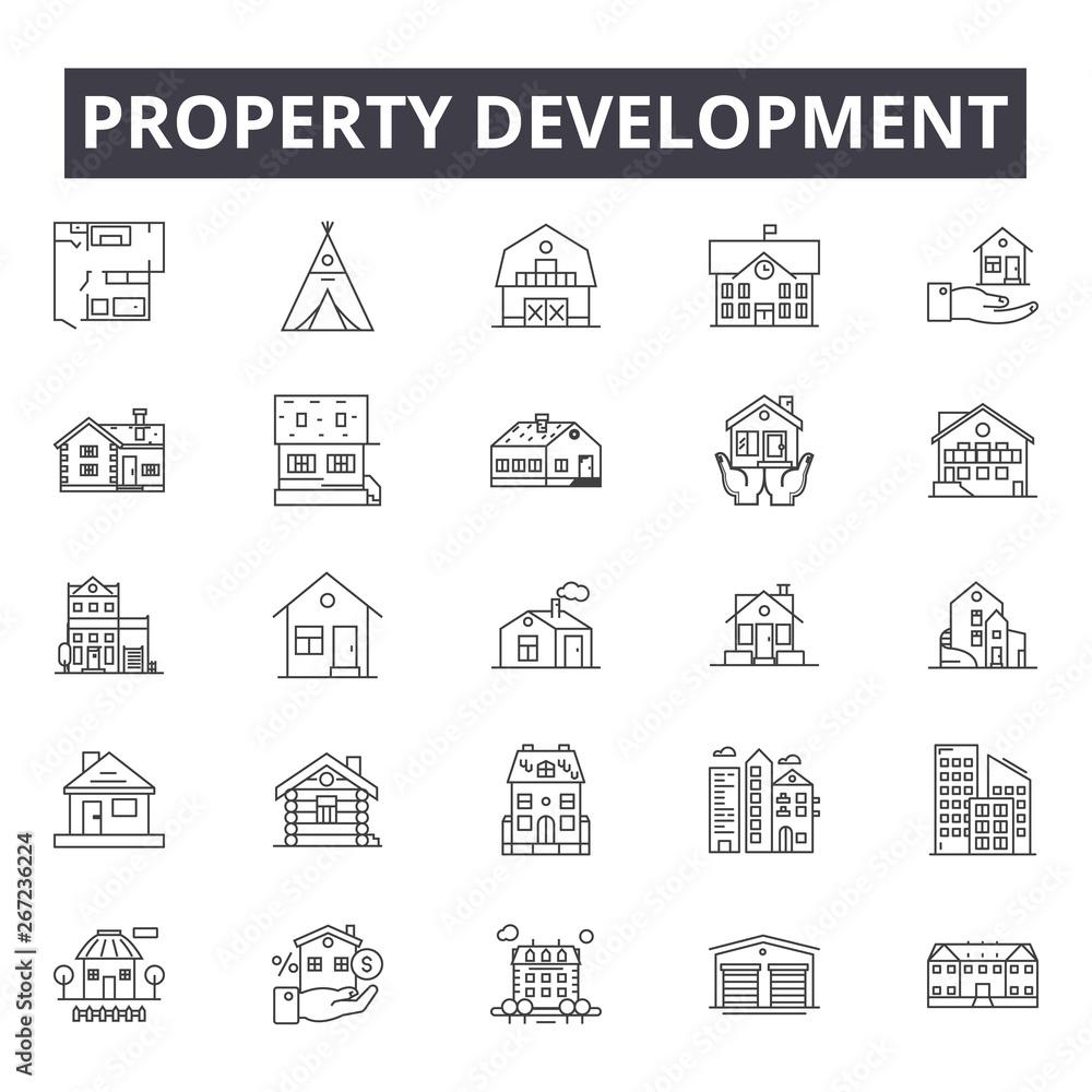Fototapeta Property development line icons, signs, vector set, outline concept, linear illustration