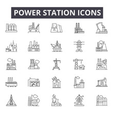 Power Station Line Icons, Sign...