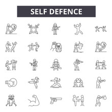 Self Defence Line Icons, Signs...