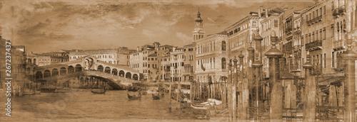 Cadres-photo bureau Venice Simulated Victorian Photograph of the Grand canal, Venice