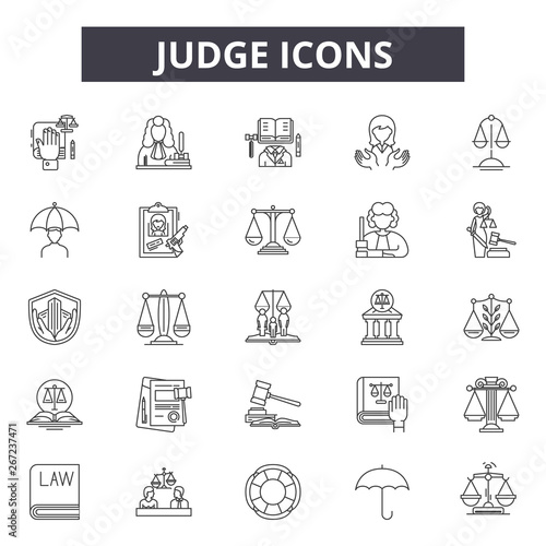 Fotografie, Obraz  Judge line icons, signs, vector set, outline concept, linear illustration