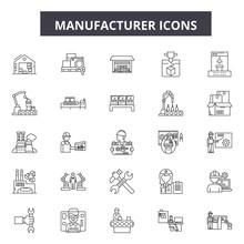 Manufacturer Line Icons, Signs, Vector Set, Outline Concept, Linear Illustration