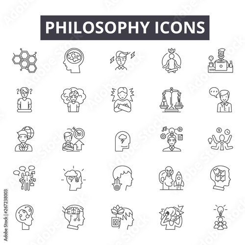 Obraz Philosophy line icons, signs, vector set, outline concept, linear illustration - fototapety do salonu