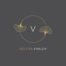 Vector Abstract Logo Design Template In Trendy Linear Minimal Style - Ginkgo Biloba Leaves