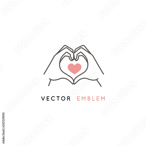 Fotomural Vector abstract logo design template in trendy linear minimal style - hands maki