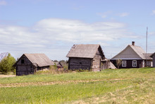 Complex Of Old Wooden Houses In A Small Village In Lithuania