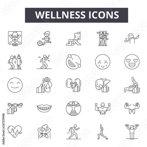 Fototapeta Wellness line icons, signs, vector set, outline concept, linear illustration obraz na płótnie