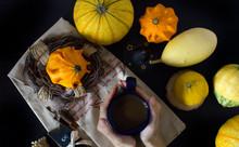 Autumn Pumpkin Hands Coffee