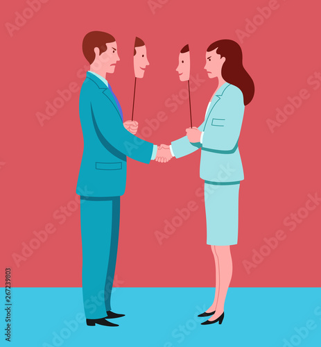 Fotografie, Obraz Business man and woman shaking hands pretend to agree and hide mutual hostility
