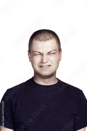 Fototapety, obrazy: Portrait of young man. Facial expression. ugly face.