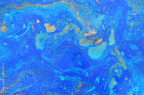 Fototapety, obrazy: Abstract marbleized effect background. Blue creative colors. Beautiful paint with the addition of gold