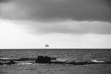 Flag Of Israel On The Rocks In...