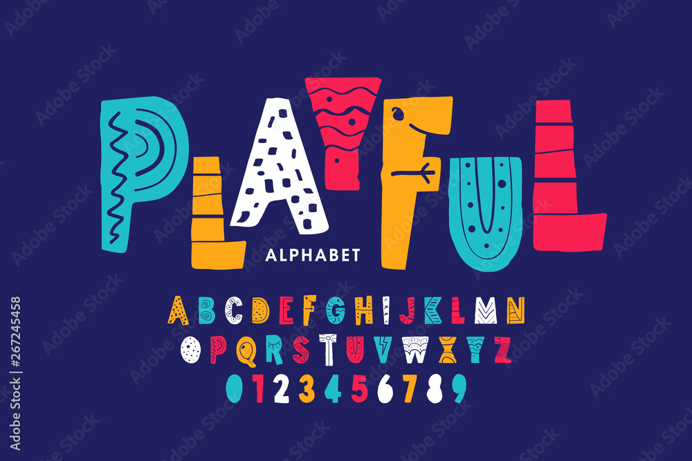 Fototapety, obrazy: Playful style font design, childish alphabet letters and numbers