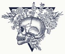 Human Skull And Herbs, Tattoo ...