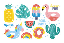 Summer Pool Floats Cute Elements Set.