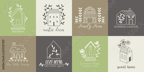 Foto House, home, cottage and farm logo template with hand drawing icons