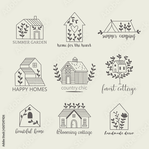 House, home, cottage and farm logo template with hand drawing icons Fototapete