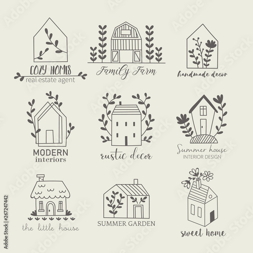 Leinwand Poster House, home, cottage and farm logo template with hand drawing icons